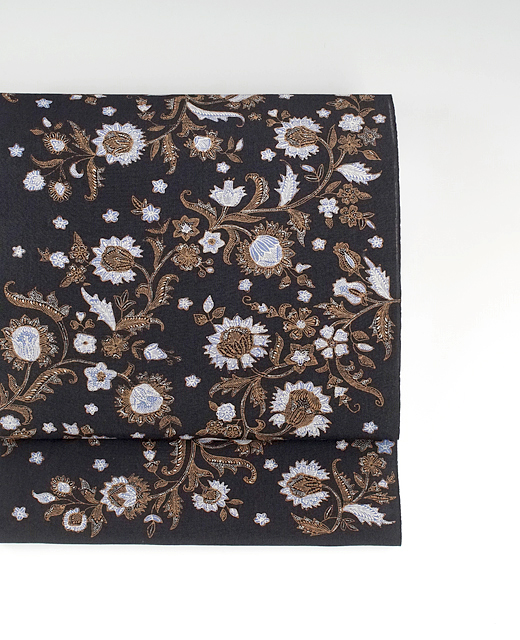手描きジャワ更紗(Reisia):麻布染め帯『野の花』