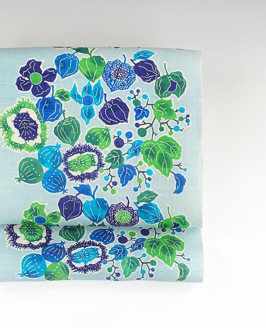 澤田麻衣子 制作:夏 型絵染め帯『ほおずき』