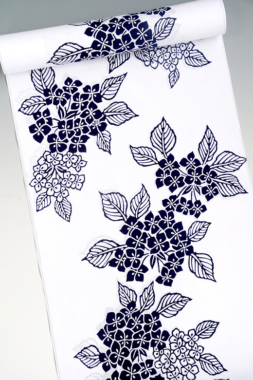 竺仙:コーマ白地ゆかた 紫陽花