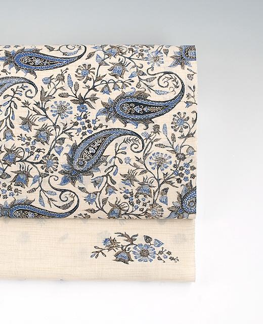 手描きジャワ更紗(Reisia):麻布染め帯『花更紗』