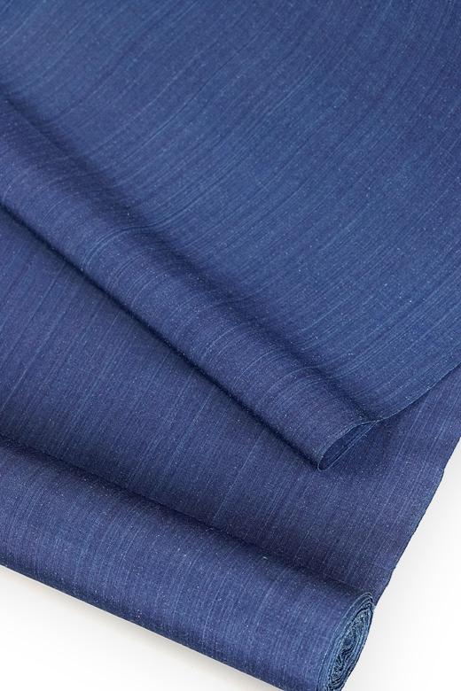 芝崎圭一 制作:藍染め手織紬:無地織