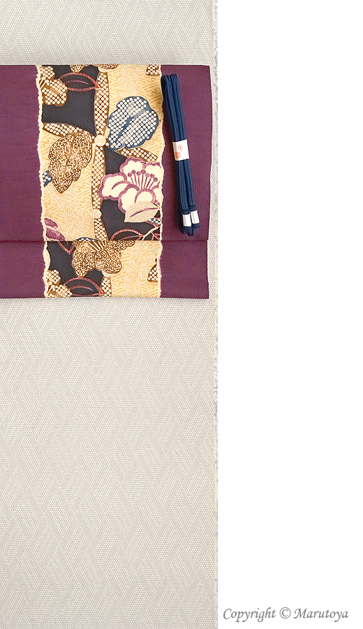 多ち花 染め帯小袖模様