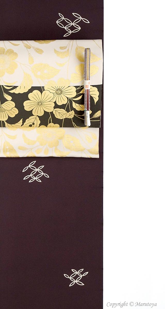 摺り箔染め帯 桃山模様
