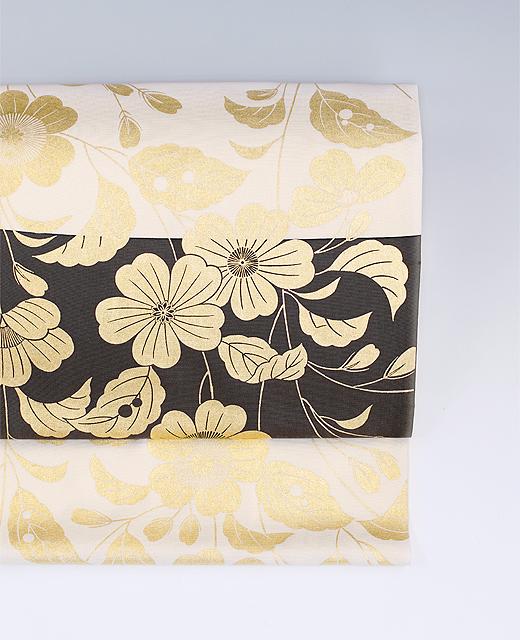 摺箔染め帯『桃山模様』
