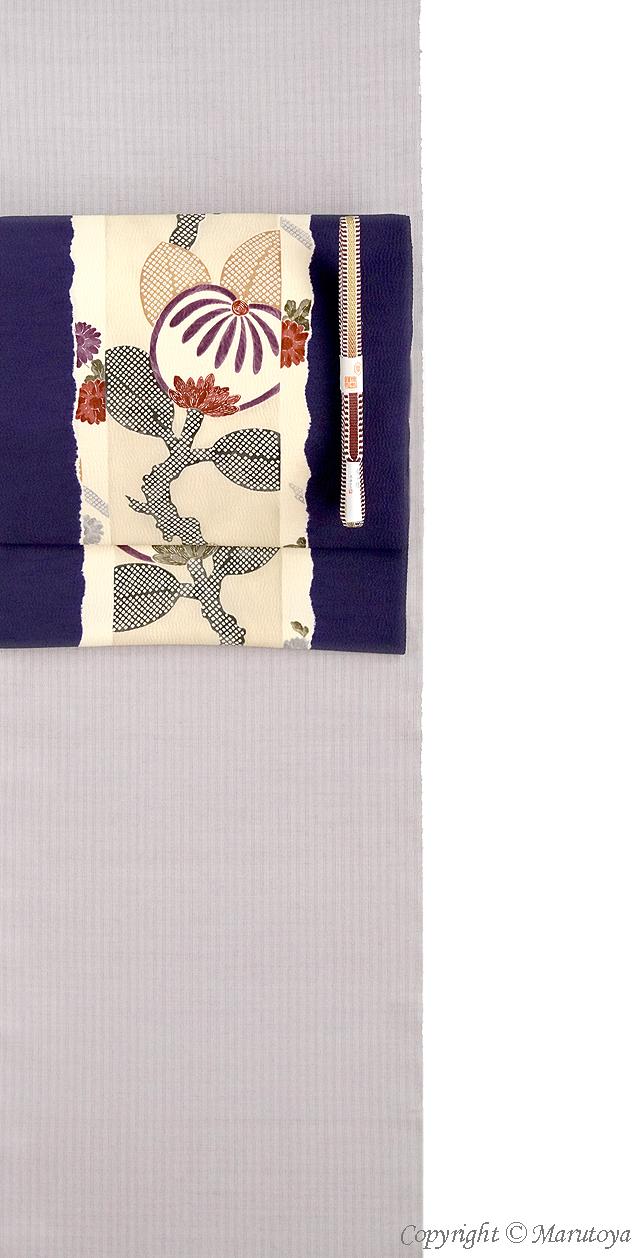 摺り型友禅と桶絞り:染め帯