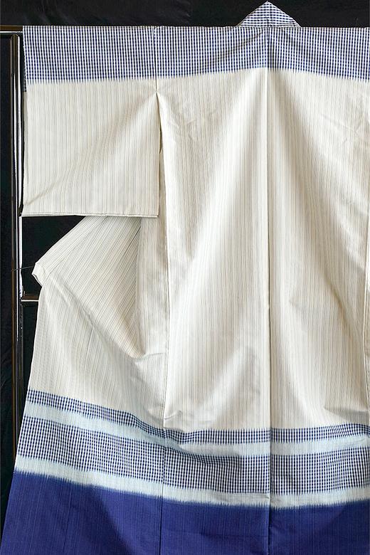 芝崎圭一 制作:藍染め手織紬:熨斗目